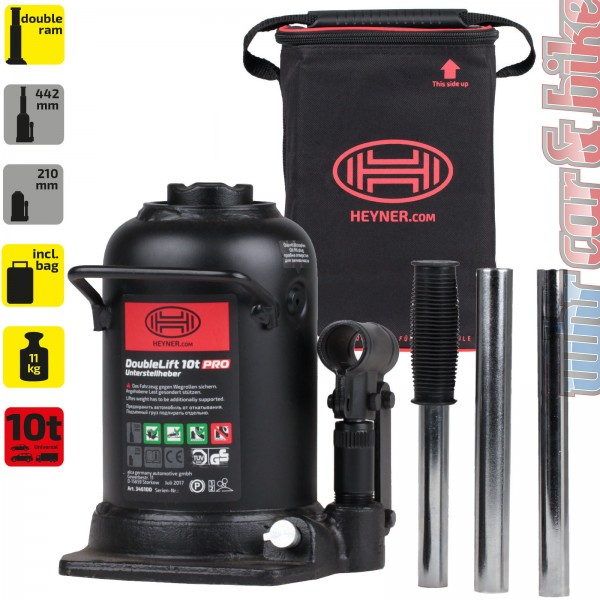 Heyner DoubleLift 10t Premium hydraulischer Unterstellheber Wagenheber + Tasche