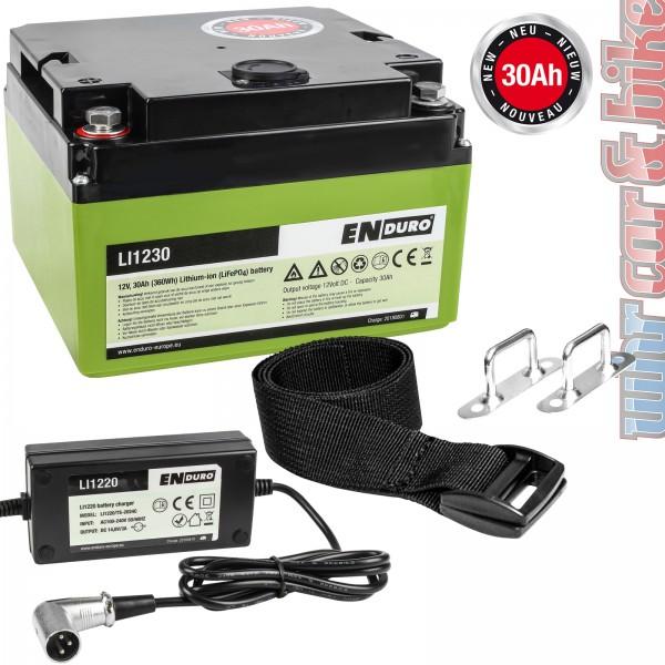 Enduro Lithium Batterie Akku 12V 30Ah LI1230 LiFePO4 für Rangierhilfen