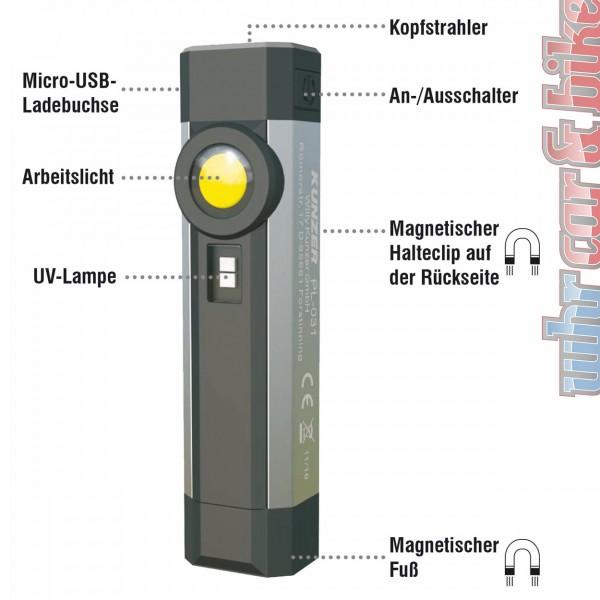Kunzer PL-031 Arbeitslampe + UV Lampe COB Li-Ion Akku Arbeitsleuchte SMD-Kopfstrahler