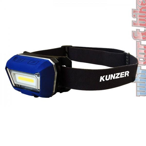 Kunzer Kopflampe COB LED Stirnlampe HL-001 Li-Po Akku Arbeitslampe Sensormodus