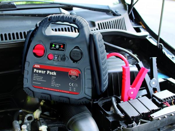 APA 12V Power-Pack 250A / 500A mobile Starthilfe Stromquelle + 18 bar Kompressor