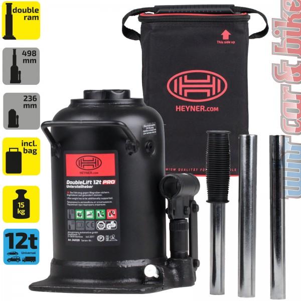 Heyner DoubleLift 12t Premium hydraulischer Unterstellheber Wagenheber + Tasche