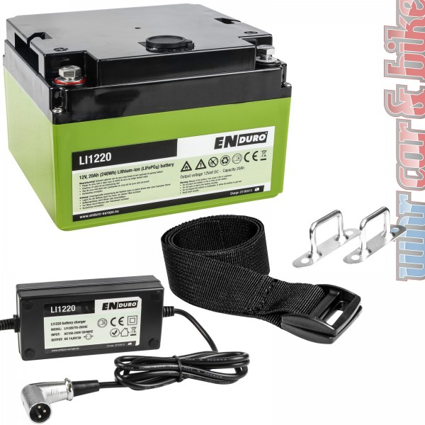 Enduro Lithium Batterie Akku 12V 20Ah LI1220 LiFePO4 für Rangierhilfen