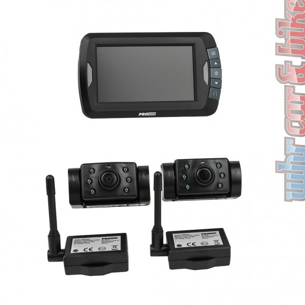 "ProUser 12V Funk Rückfahrkamera mit 2 Kameras 4,3"" LCD Einparkhilfe Nachtsicht"